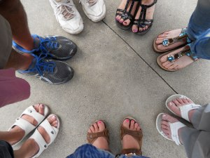 A few of us stood in a group before leaving and prayed for safe travels. So I took this Prayer Feet photo.